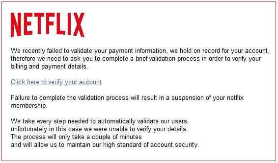 Netflix Scam Email