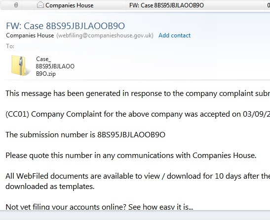 Companies House Fake Email Alert, CC01 Company Complaint Virus