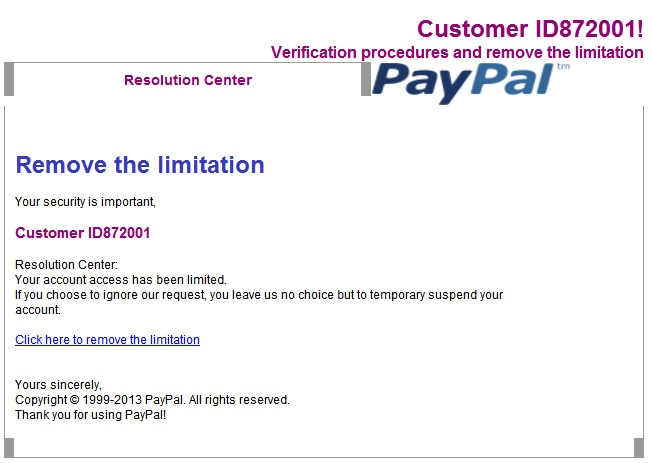 Latest PayPal Scam Warning