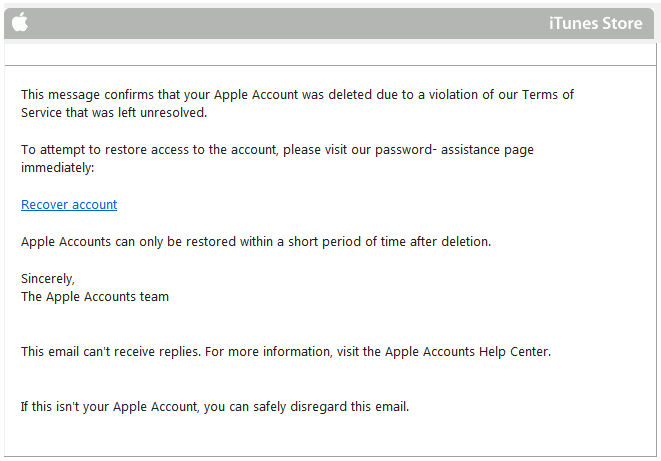 iTunes Account Deleted Scam Warning